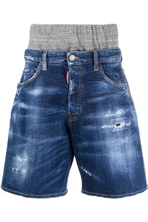 Dsquared2 Double waistband distressed denim shorts