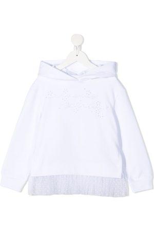 ERMANNO SCERVINO JUNIOR Tulle-hem cotton hoodie