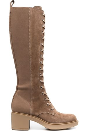 Gianvito Rossi Women Knee High Boots - Lace-up suede knee boots