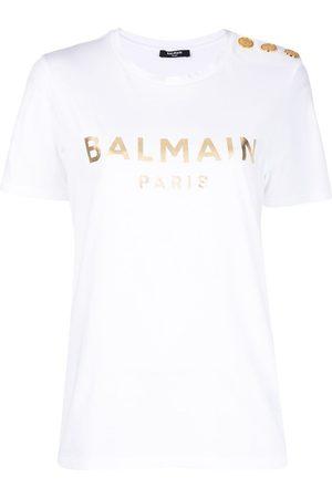 Balmain Metallic-logo button-embellished T-shirt