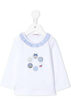 Familiar Ruffle-neck cotton t-shirt