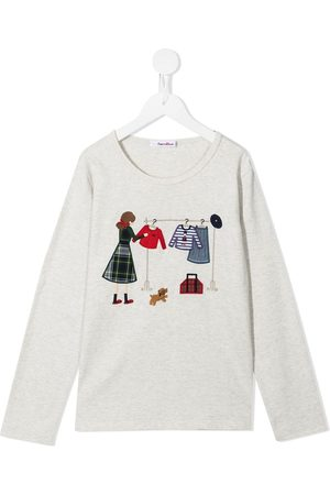 Familiar Embroidered long-sleeve T-shirt