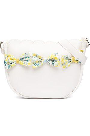 Familiar Girls Bags - Floral-bow leather shoulder bag