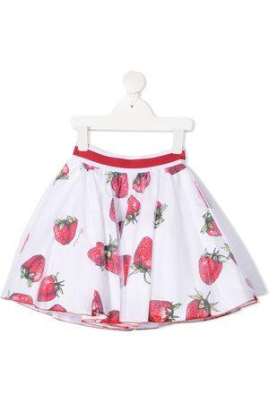 Monnalisa Girls Printed Skirts - Strawberry-print cotton skirt
