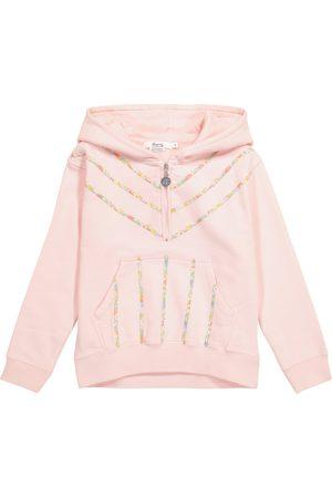 Bonpoint Floral-trimmed cotton hoodie