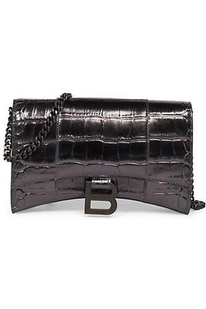 Balenciaga Hourglass Croc-Embossed Leather Wallet-On-Chain