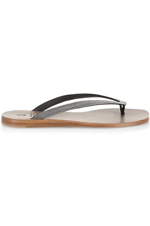 Brunello Cucinelli Metallic Leather Thong Sandals