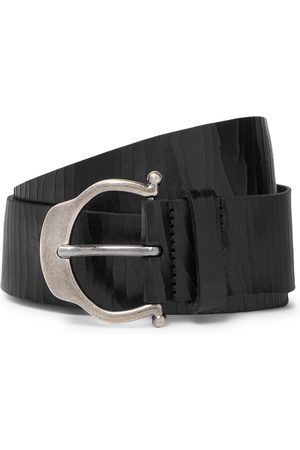 SAINT LAURENT Men Belts - 3.5cm Cracked-Leather Belt