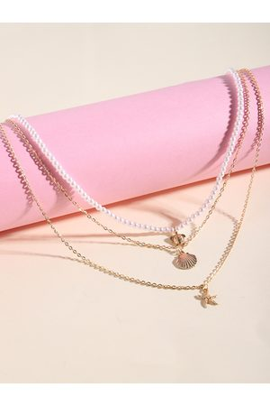 YOINS Women Necklaces - Beaded Chain Shell Starfish Pendant Multi-layer Necklace