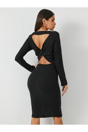 YOINS Women Midi Dresses - Backless Twist Design Long Sleeves Dress