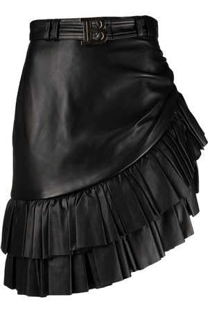 Balmain Short asymmetric ruffled leather skirt