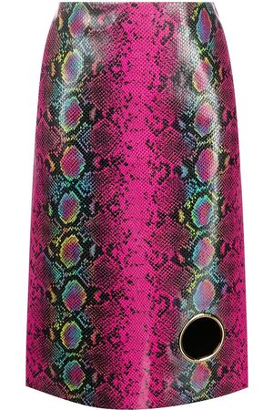 Versace Python-print leather skirt