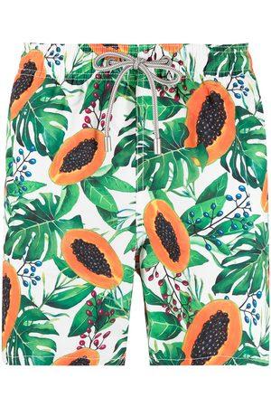 Mc2 Saint Barth Papaya-print elasticated-waist swim shorts