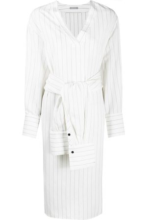 12 STOREEZ Striped tied-waist shirt dress