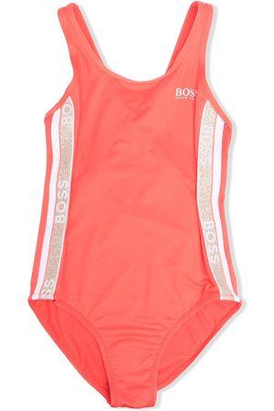 BOSS Kidswear Logo-tape one-piece swimsuit