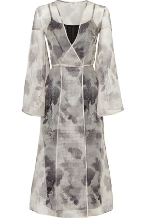 Fendi Women Party Dresses - Floral print sheer wrap dress