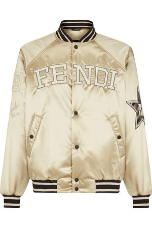 Fendi Embroidered logo buttoned bomber jacket