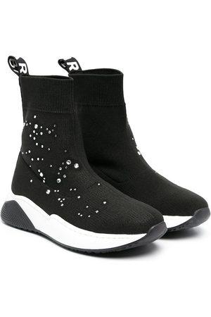 Balmain Kids Crystal-embellished high-top sneakers