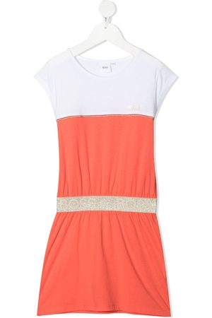 BOSS Kidswear Piped-trimming colour-block T-shirt dress