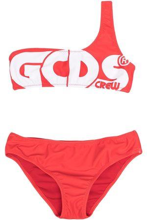 Gcds Kids Asymmetric one-shoulder bandeau bikini