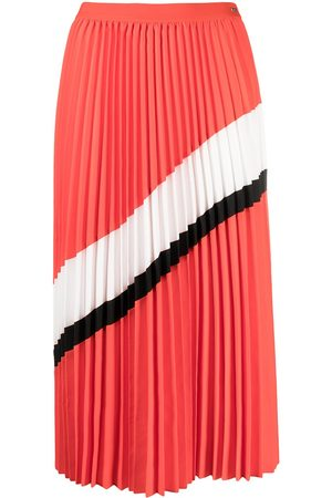 Armani Stripe-detail pleated midi skirt