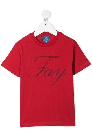 FAY KIDS Logo print cotton T-shirt