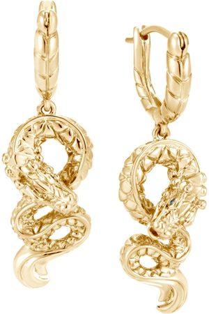 John Hardy 18kt yellow Legends Naga sapphire drop earrings