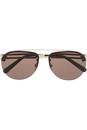 Bvlgari Men Sunglasses - Double-bridge aviator-frame sunglasses