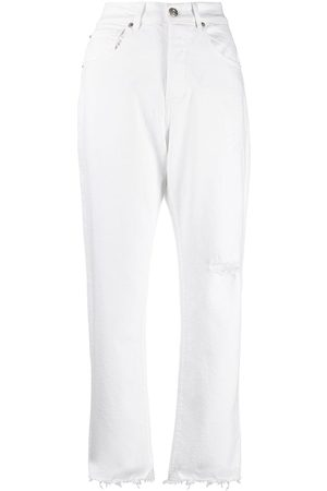 3x1 High-waisted frayed jeans