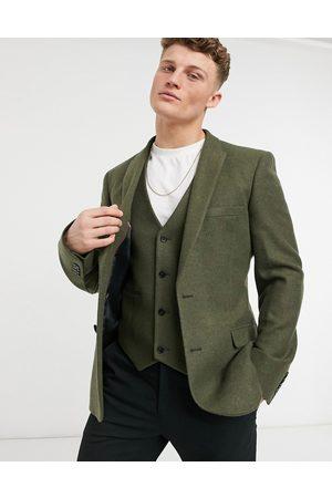 ASOS DESIGN Skinny wool mix suit jacket in khaki twill