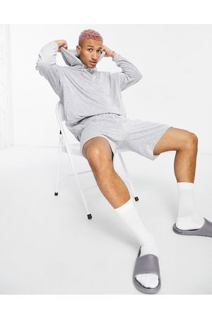 ASOS DESIGN Oversized towelling shorts tracksuit with hoodie in marl