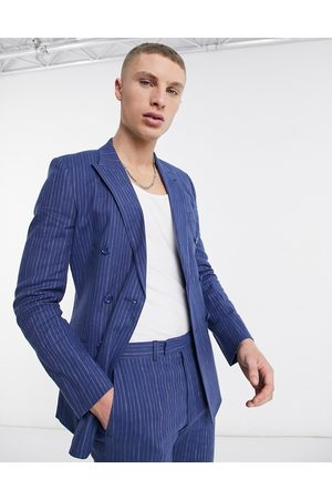 ASOS Super skinny double breasted cotton linen pinstripe suit jacket in