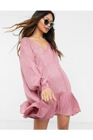 Esmée Esmee Exclusive mini tried smock dress with long sleeve in dusky