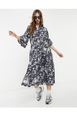 & OTHER STORIES Midi shirt dress in marble print