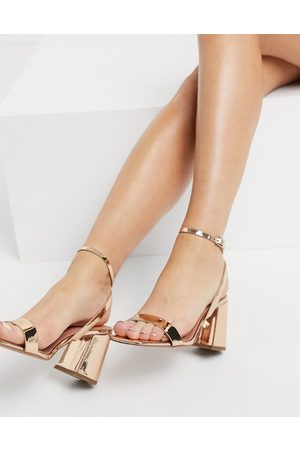 ASOS DESIGN Hudson barely there block heeled sandals in rose