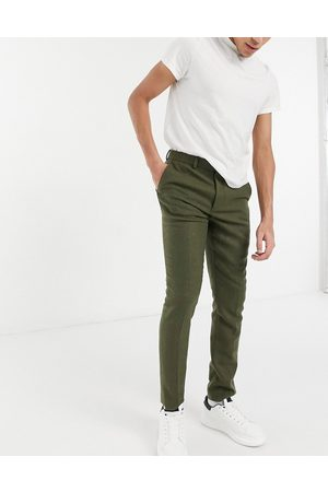 ASOS DESIGN Skinny wool mix suit trousers in khaki twill
