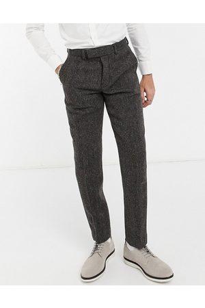 ASOS DESIGN Harris tweed 100% wool slim suit trousers in herringbone