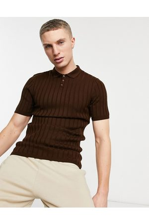 ASOS DESIGN Knitted ribbed polo neck t-shirt