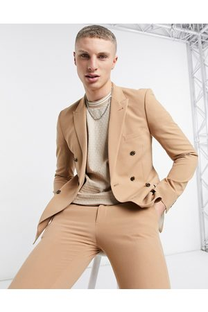 ASOS DESIGN Super skinny double breasted suit jacket in camel