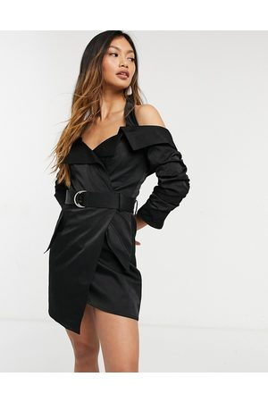 ASOS DESIGN Halter tux dress with ruched sleeve and belt detail in