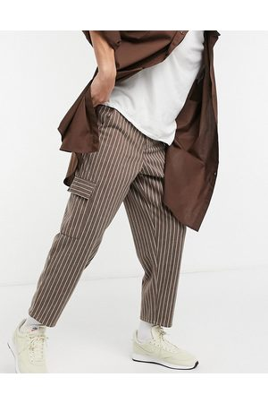 ASOS DESIGN Balloon fit cropped trousers in stripe