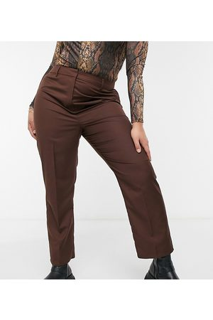 Collusion Plus straight leg trouser in chocolate brown