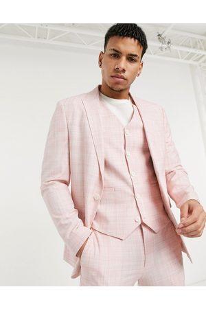 ASOS DESIGN Wedding skinny suit jacket in pastel crosshatch