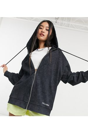 Collusion Double zip logo hoodie co-ord in charcoal