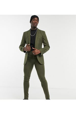 ASOS DESIGN Tall skinny wool mix suit trousers in khaki twill