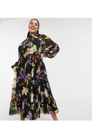 ASOS Curve ASOS DESIGN Curve high neck tiered maxi dress in bold winter floral