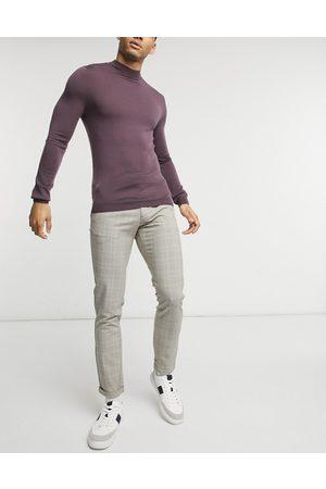 jack & jones Premium check trouser in ecru