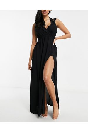 ASOS DESIGN Fuller bust recycled knot strap maxi beach dress in