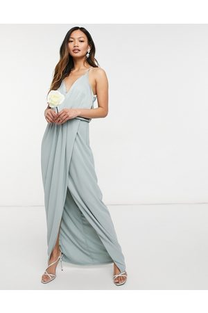 TFNC Bridesmaid satin halterneck top maxi dress in sage