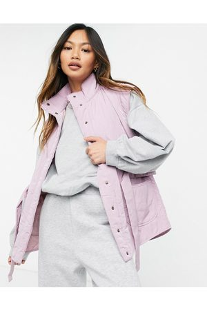 Y.A.S Quilted gilet with high neck and tie waist in lilac